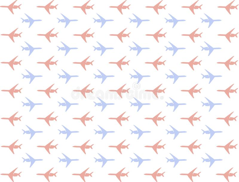 Airplane pattern set many mini silhouettes icons blue red movement series right left background transport background web design royalty free illustration