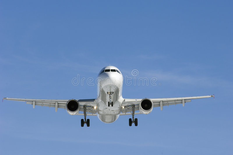 Airplane in perfect light royalty free stock photo