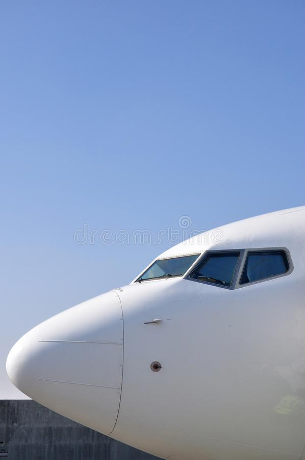 Airplane pilot cabin stock photo
