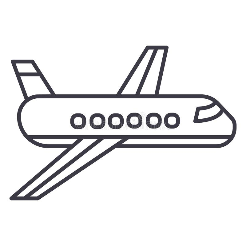 Airplane, plane vector line icon, sign, illustration on background, editable strokes royalty free illustration