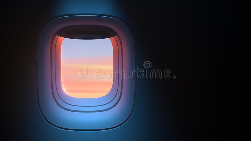 Airplane porthole in the evening ambient atmosphere with clouds sunset visible through window. In pink blue color scheme. Ultra realistic 3d render vector illustration