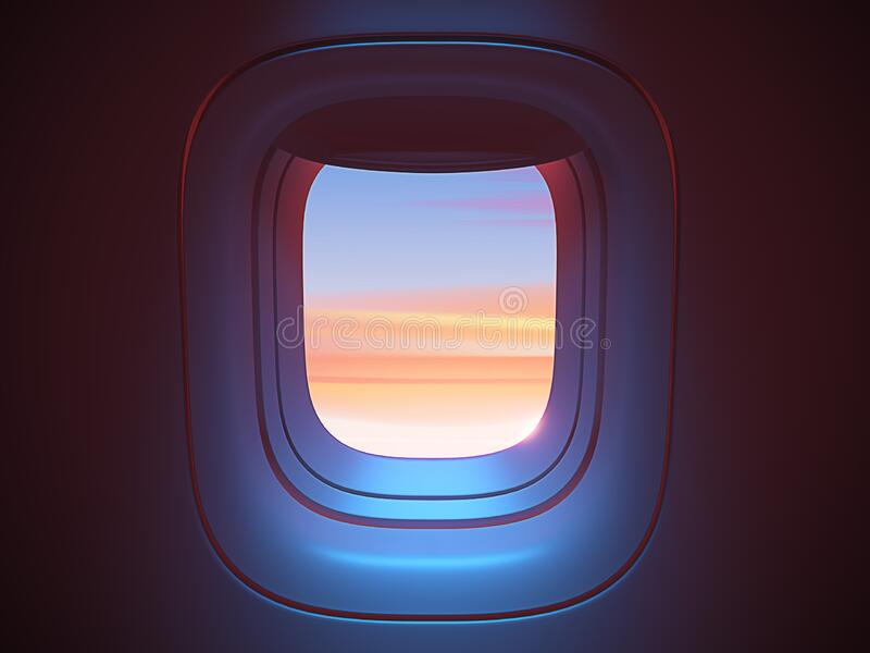 Airplane porthole in the evening ambient atmosphere with clouds sunset visible through window. In pink blue color scheme. Ultra realistic 3d render stock illustration