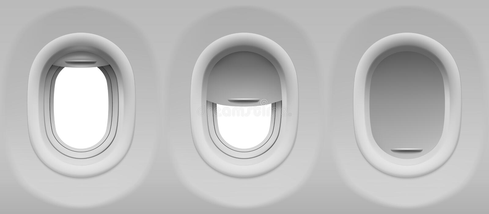 Airplane portholes. Aircraft windows. Three realistic airplane portholes with open and closed shade. Vector template of plane interior illuminators with white stock illustration