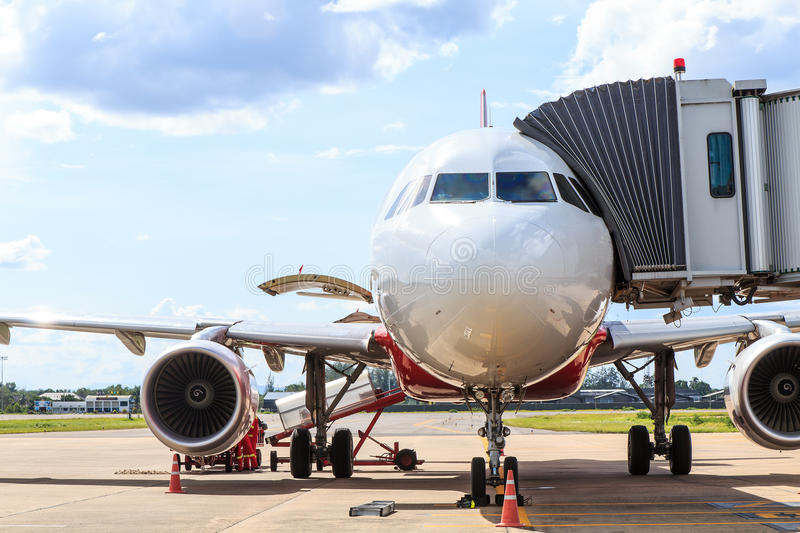 Airplane prepare for fight royalty free stock photos