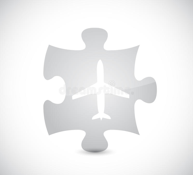 Airplane puzzle piece illustration design. Over a white background stock illustration