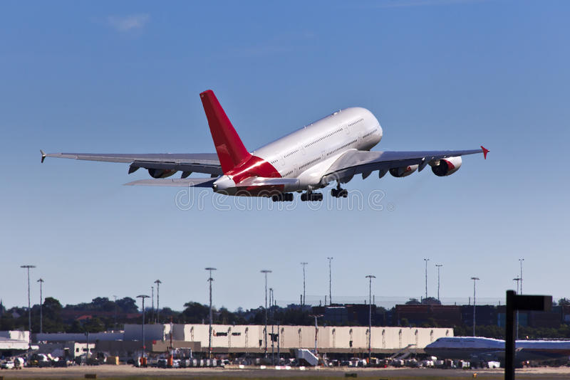 Download Airplane Qan A380 Up Land stock image. Image of large - 28291131