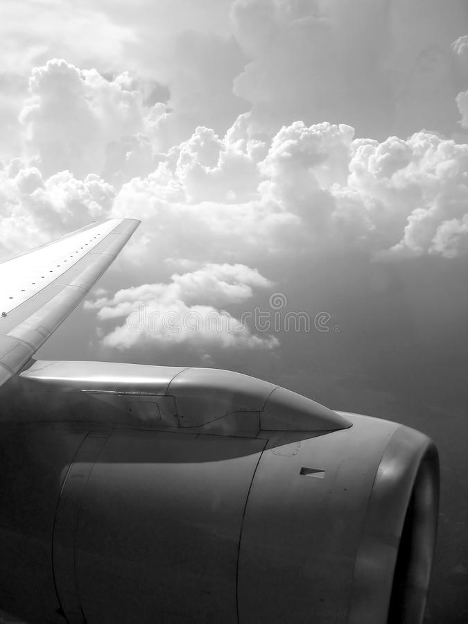 Airplane reactor sky view from aircraft royalty free stock photo