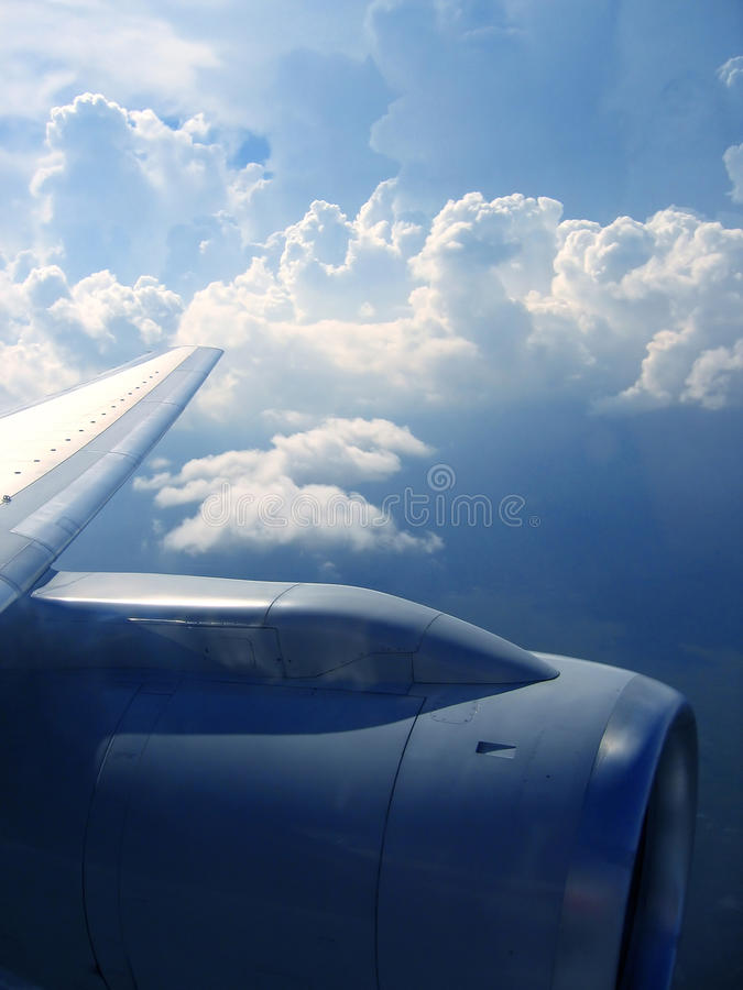 Airplane reactor sky view from aircraft royalty free stock images