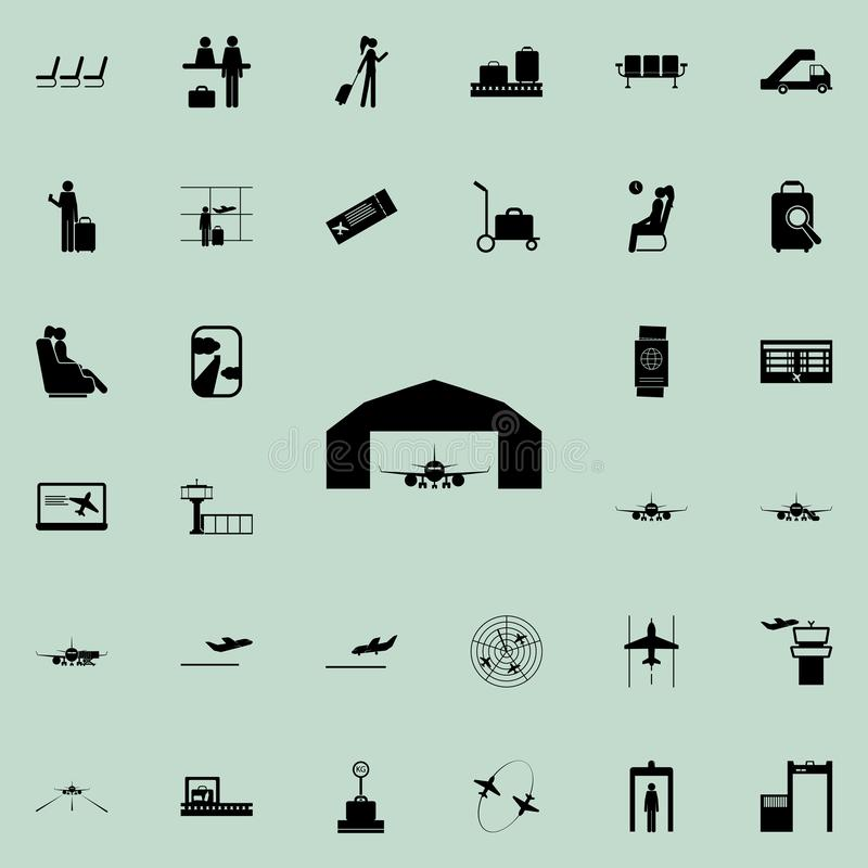 Airplane in a repair hangar icon. Airport Icons universal set for web and mobile. On colored background stock illustration