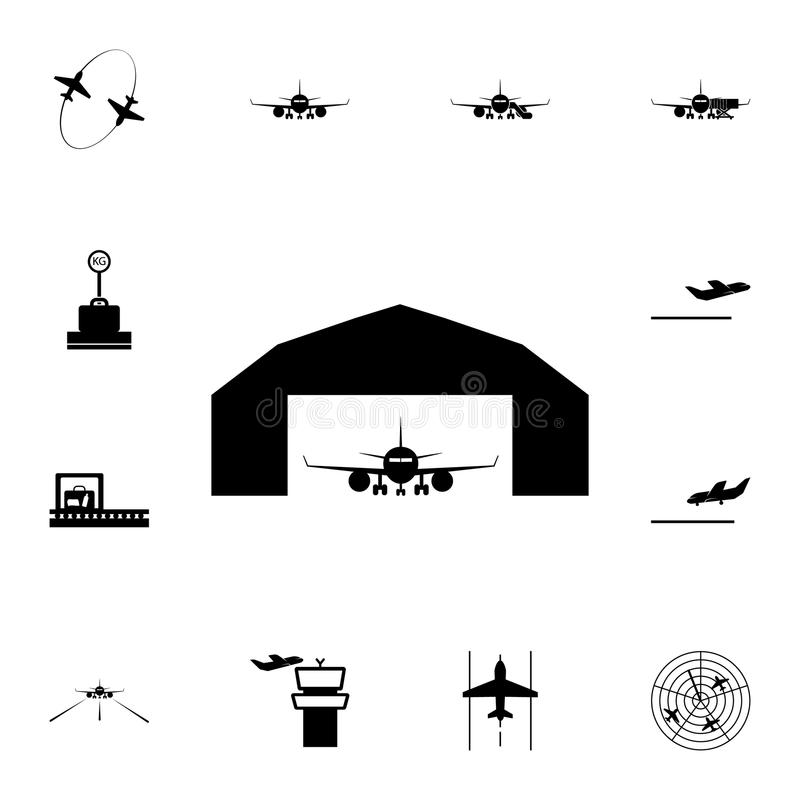 Airplane in a repair hangar icon. Detailed set of Airport icons. Premium quality graphic design sign. One of the collection icons. For websites, web design royalty free illustration