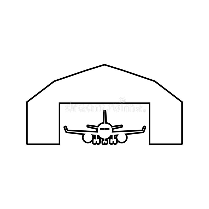 Airplane in a repair hangar icon. Element of cyber security for mobile concept and web apps icon. Thin line icon for website. Design and development, app royalty free illustration