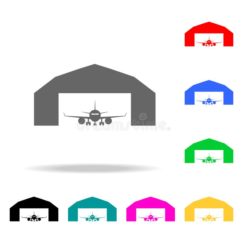 Airplane in a repair hangar icon. Elements of Airport multi colored icons. Premium quality graphic design icon. Simple icon for we. Bsites, web design, mobile vector illustration