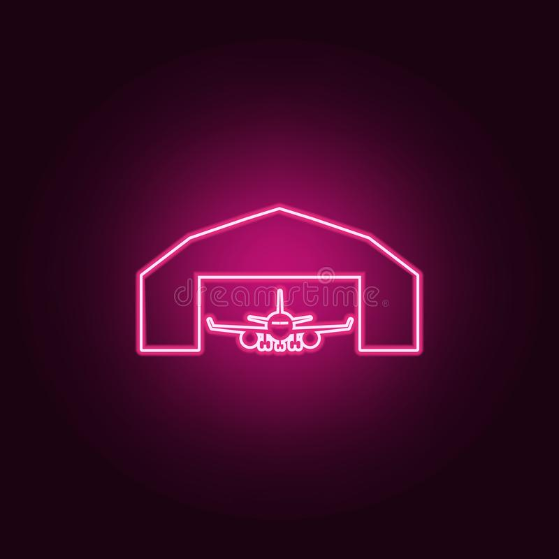 Airplane in a repair hangar icon. Elements of Airport in neon style icons. Simple icon for websites, web design, mobile app, info. Graphics on dark gradient royalty free illustration