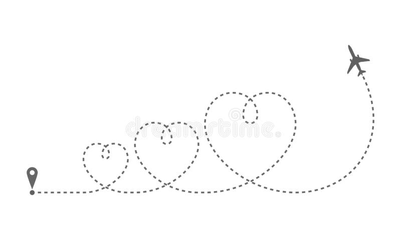 Route plane 3 hearts. Airplane route in dotted line shape. Abstract airplane flying  on white background. Travel concept. Vector illustration royalty free illustration