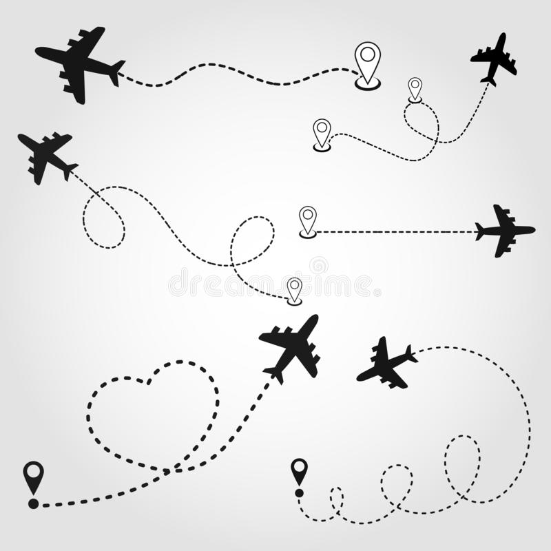 Airplane route in dotted line shape. A route from a line in the form of points. Travel concept vector illustration. Eps10 royalty free illustration