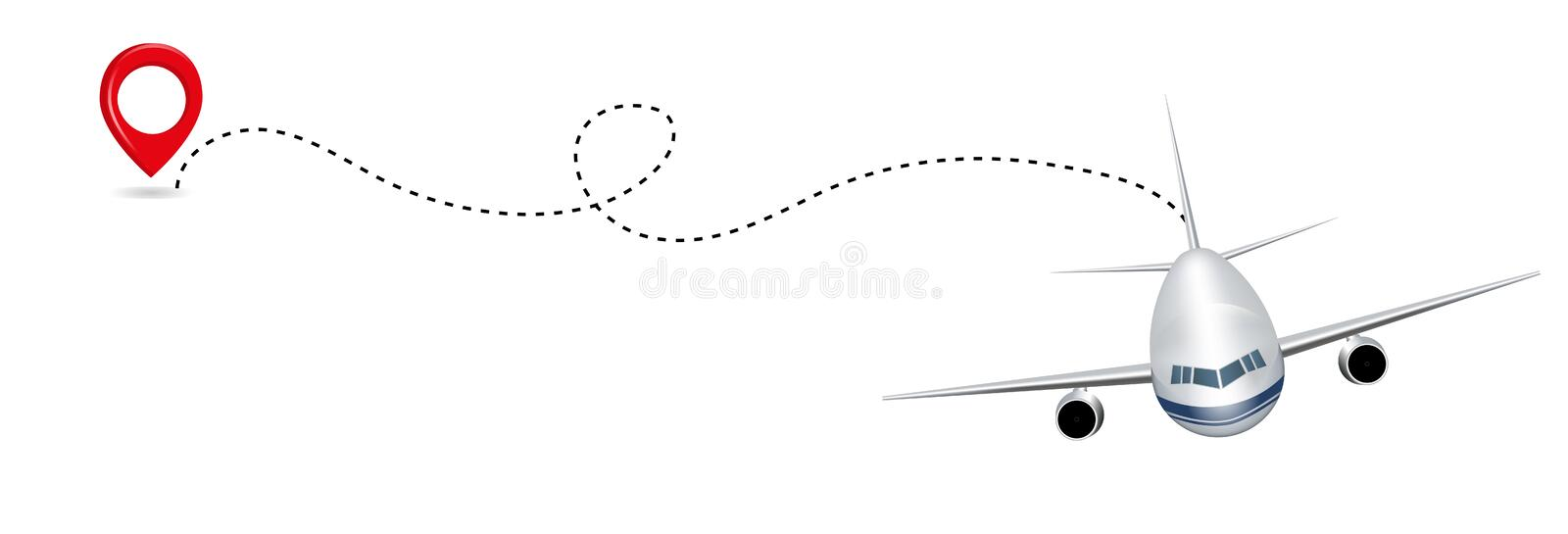 Airplane route in dotted line shape isolated on white background. Abstract concept graphic element for air transportation presenta royalty free illustration