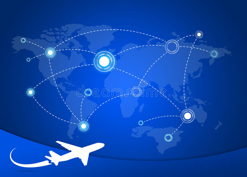 Airplane Routes on map royalty free illustration