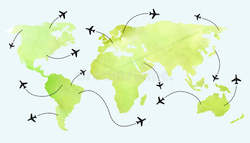 Airplane Routes On World Map Stock Illustration