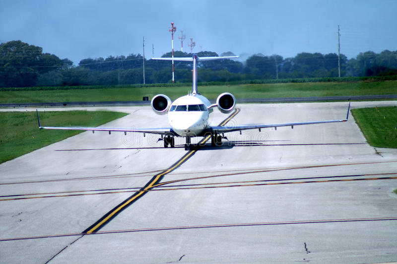 Airplane on Runway royalty free stock photography