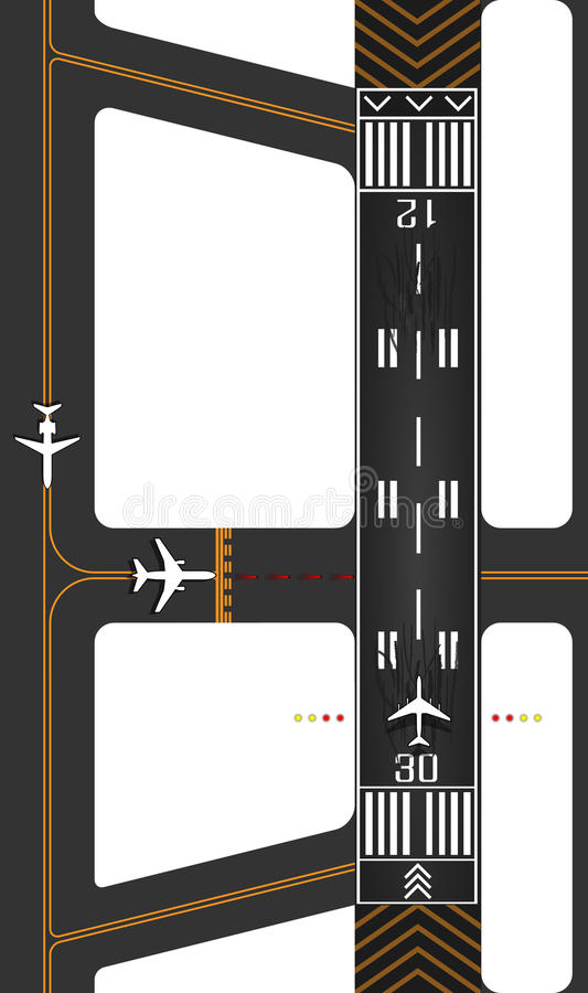 Airplane runway with exits. Surface guides for taxing and queued planes waiting for takeoff clearance vector illustration