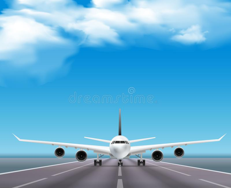 Airplane On Runway Realistic Poster. Civil passenger airliner jet on runway realistic front view image travel agency advertisement poster sky background vector vector illustration
