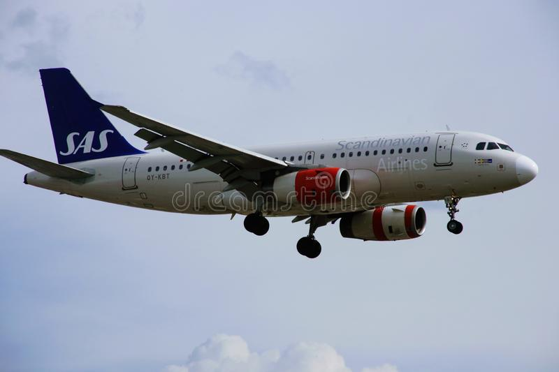 Airplane of Scandinavian Airlines royalty free stock photos