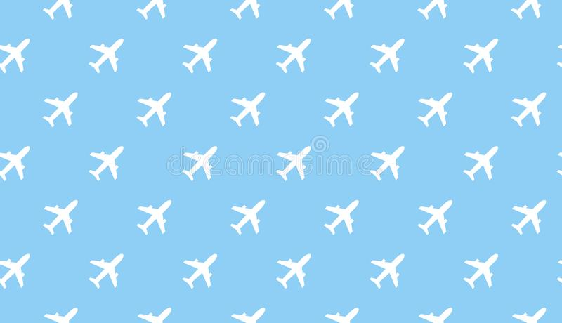 Airplane seamless background. Aircraft transportation blue and white pattern template. Aviation vector repeatable. Texture stock illustration