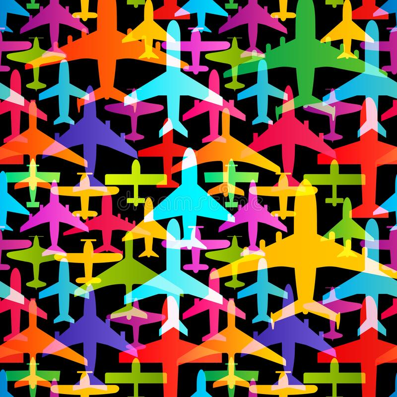 Airplane seamless background. Aircraft transportation colorful pattern template. Aviation vector repeatable texture. Airplane seamless background. Aircraft royalty free illustration