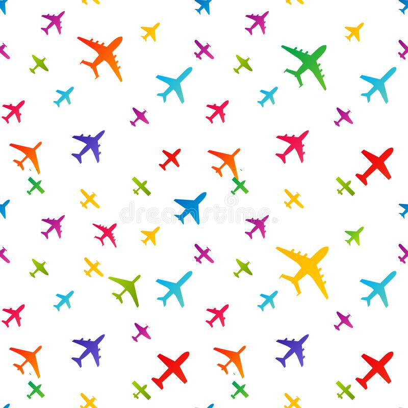 Airplane seamless background. Aircraft transportation colorful pattern template. Aviation vector repeatable texture. Airplane seamless background. Aircraft vector illustration
