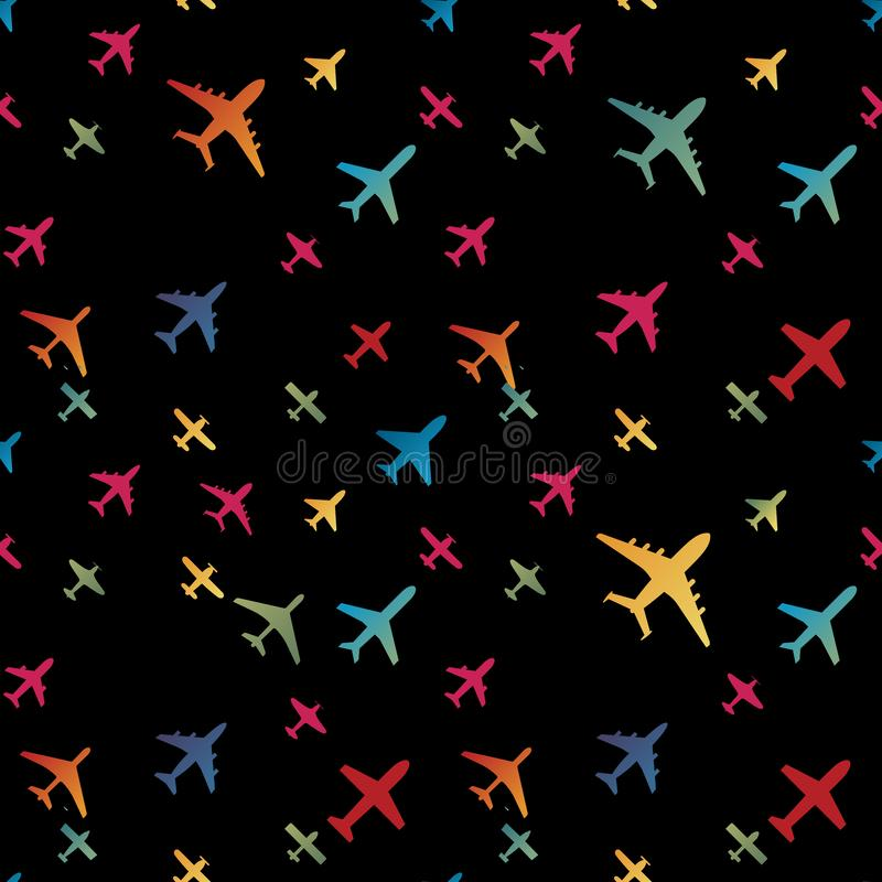 Airplane seamless background. Aircraft transportation colorful pattern template. Aviation vector repeatable texture. Airplane seamless background. Aircraft stock illustration