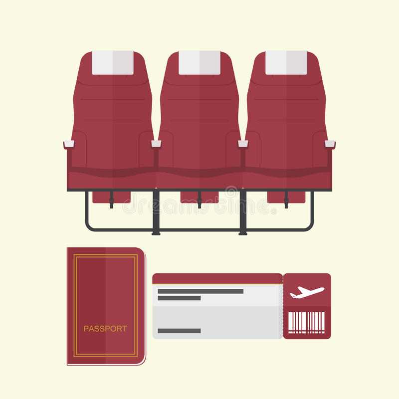 Airplane seat with passport and boarding pass in flat design . royalty free illustration