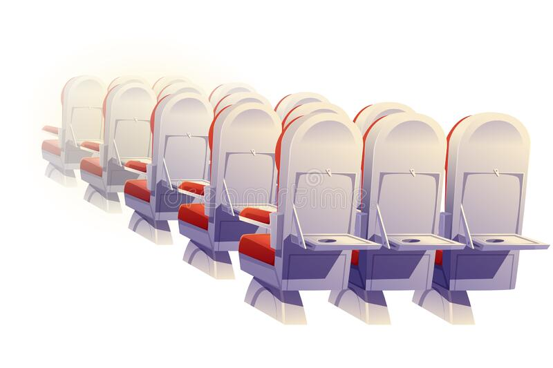 Airplane seats rear view, economy class chairs. Airplane seats rear view isolated. Economy class plane empty chairs and folding tables row, aircraft salon places royalty free illustration