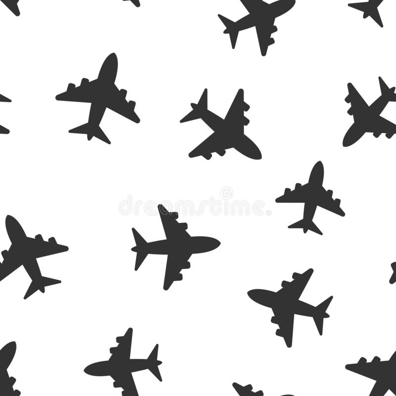 Airplane sign vector icon seamless pattern background. Airport plane illustration. Business concept simple flat pictogram on white vector illustration