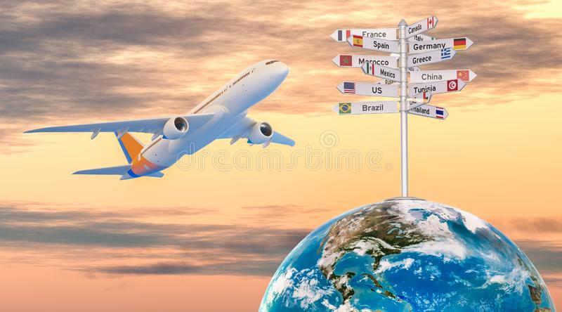 Airplane and signpost with names of countries. Travel concept, 3D rendering. Airplane and signpost with names of countries. Travel concept, 3D stock illustration