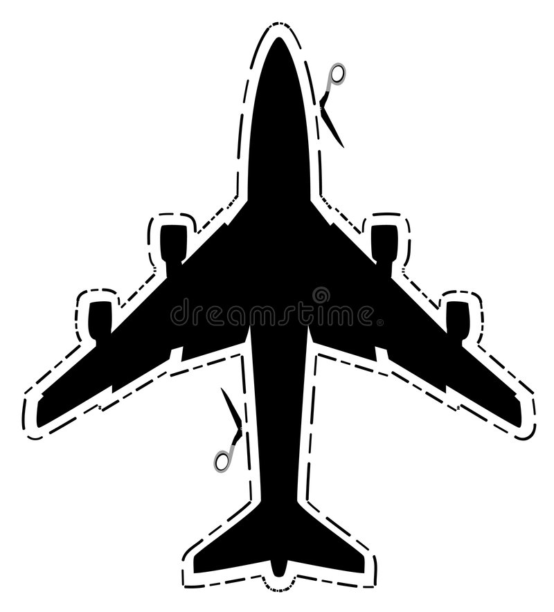 Airplane silhouette cut vector illustration