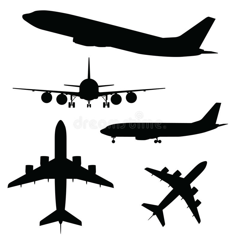 Airplane silhouette in different view royalty free illustration