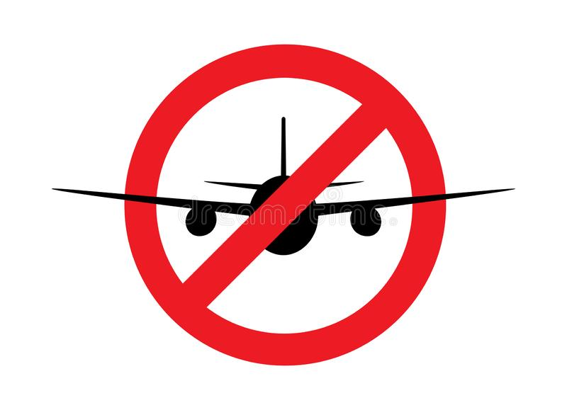 Airplane  silhouette  in th prohibition sign, front view, isolated on the white background, horizontal vector illustration. Airplane  silhouette  in the royalty free illustration
