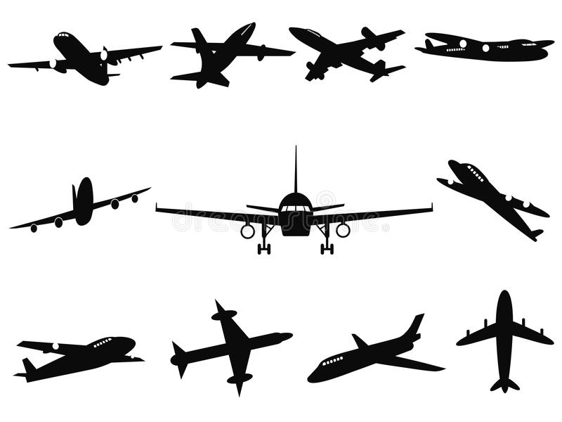 Airplane silhouettes. Isolated black Airplane silhouettes from white background stock illustration