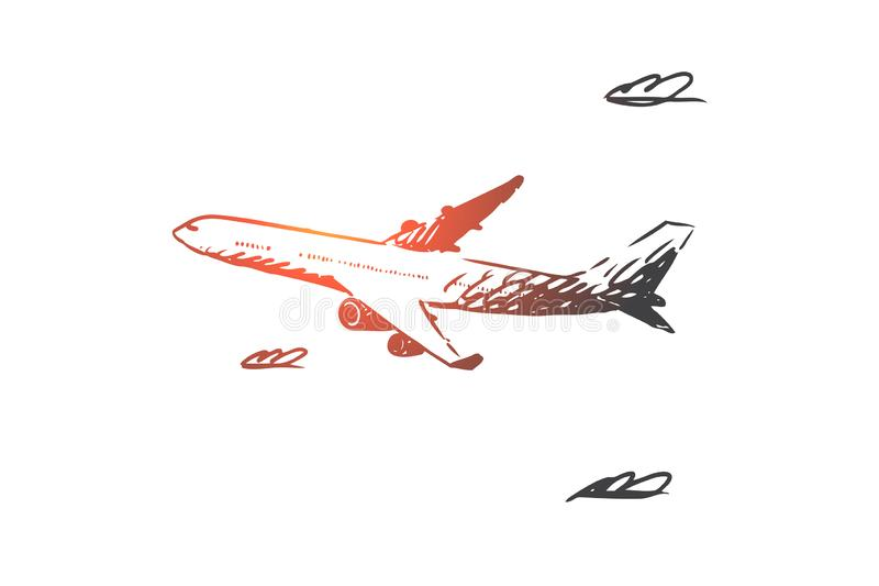 Airplane, sky, flight, transport, trip concept. Hand drawn isolated vector. royalty free illustration