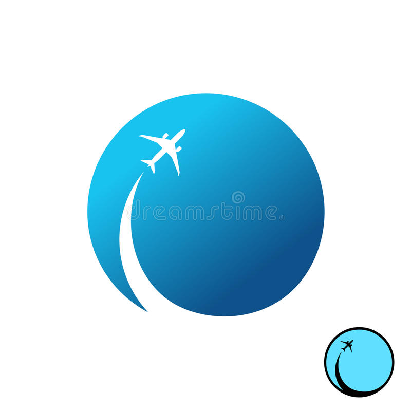 Airplane with sky round logo. Jet plane with inversion trail. royalty free illustration