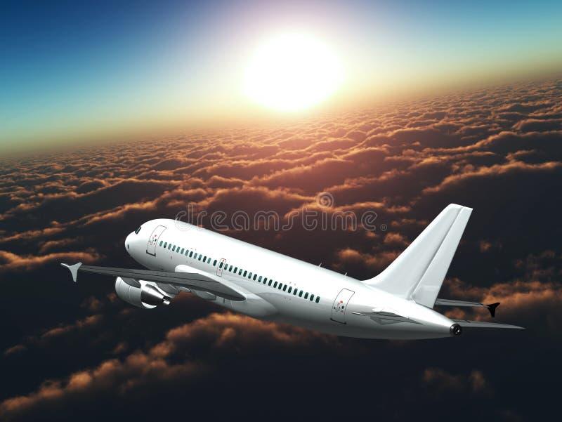 Airplane in the sky at sunset - sunrise - Passenge