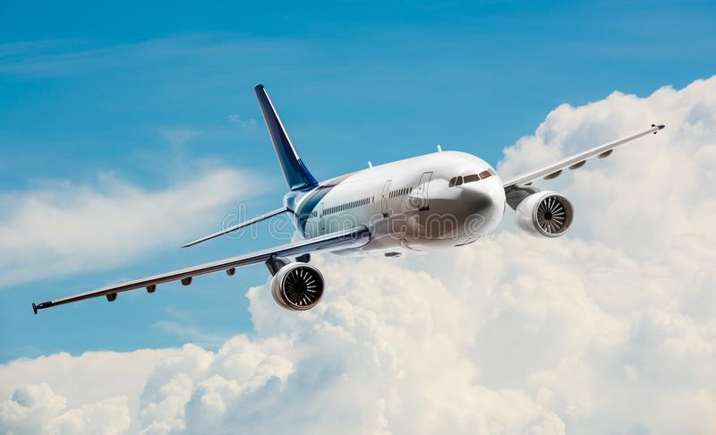 Airplane on sky. Airplane for transportation flying on the sky stock photo
