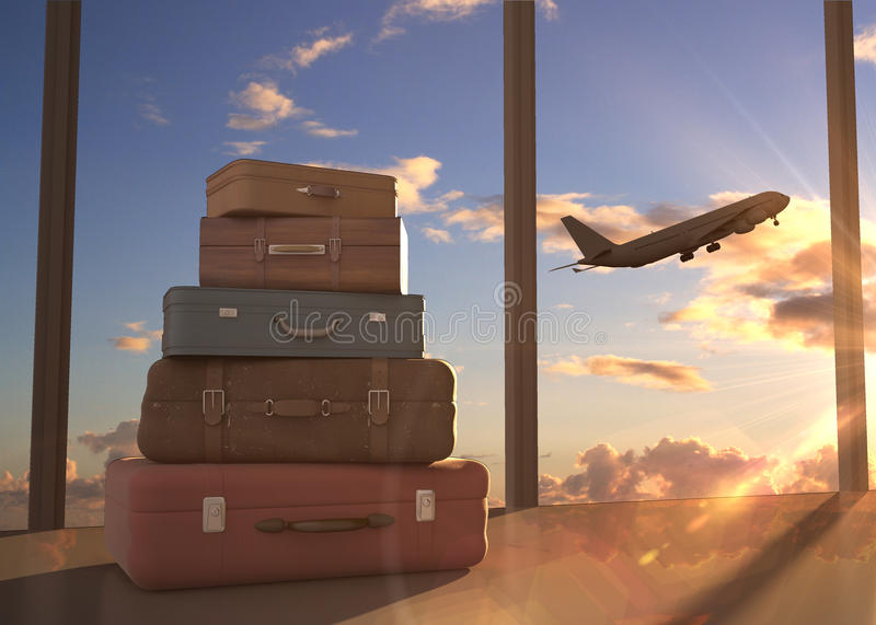 Airplane in sky. Travel bags and airplane in sky royalty free stock photography