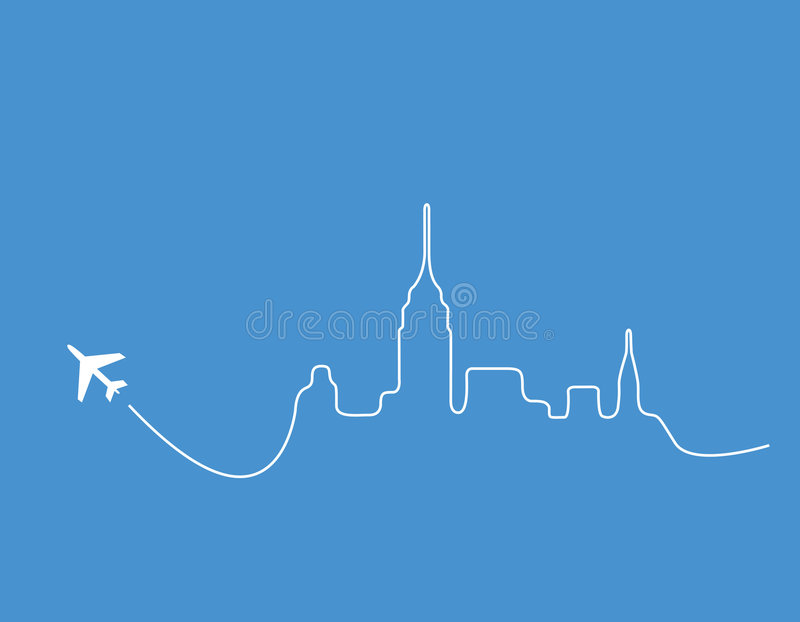 Airplane skyline new york. Airplane leaving a silhouette of the New York skyline