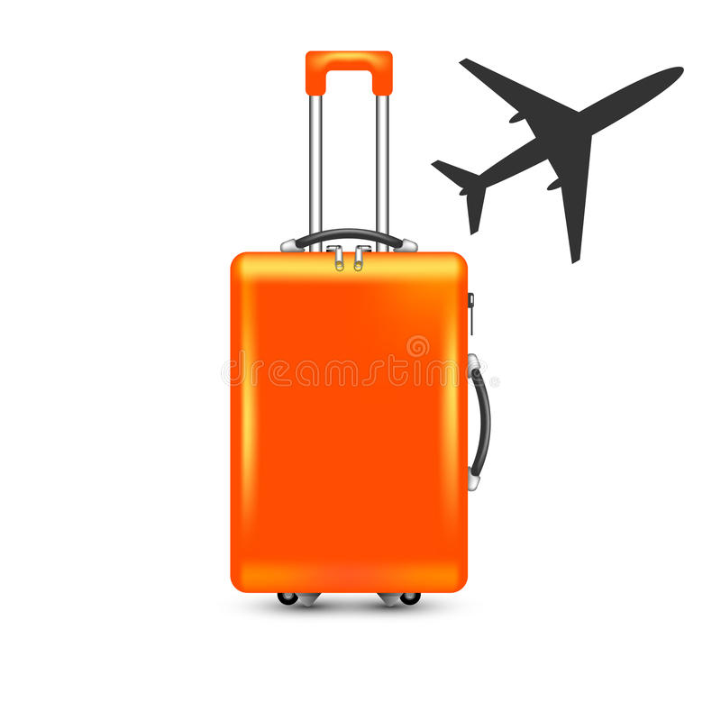 Airplane With Suitcase Royalty Free Stock Photos