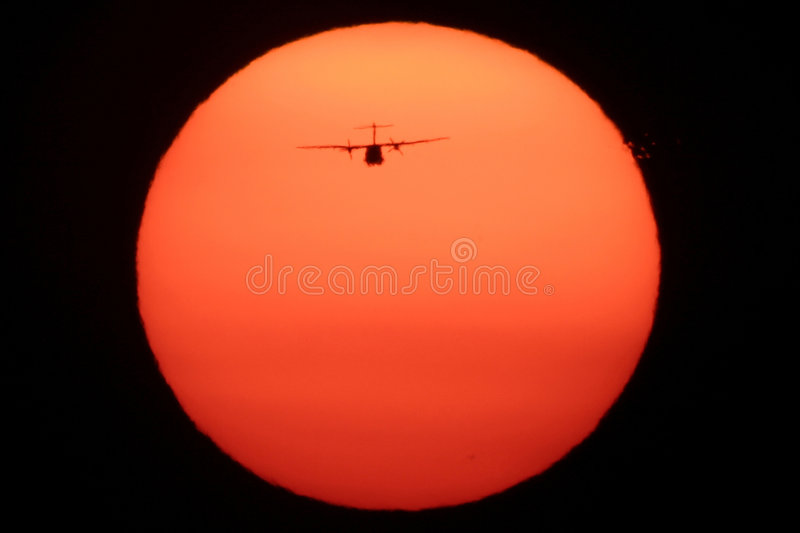 Download Airplane on the Sun stock image. Image of airplane, landing - 4723159
