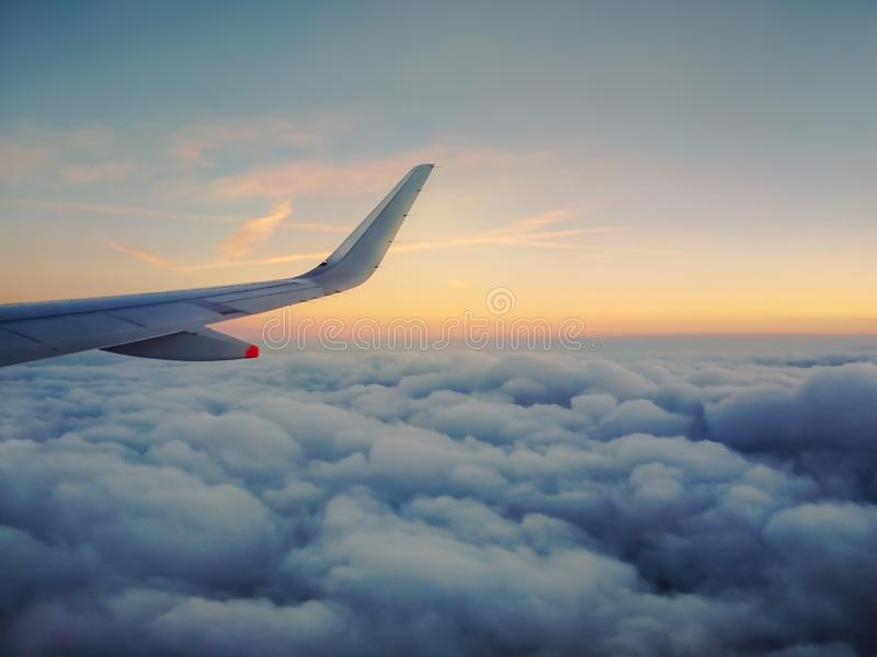 Airplane sunrise view stock images