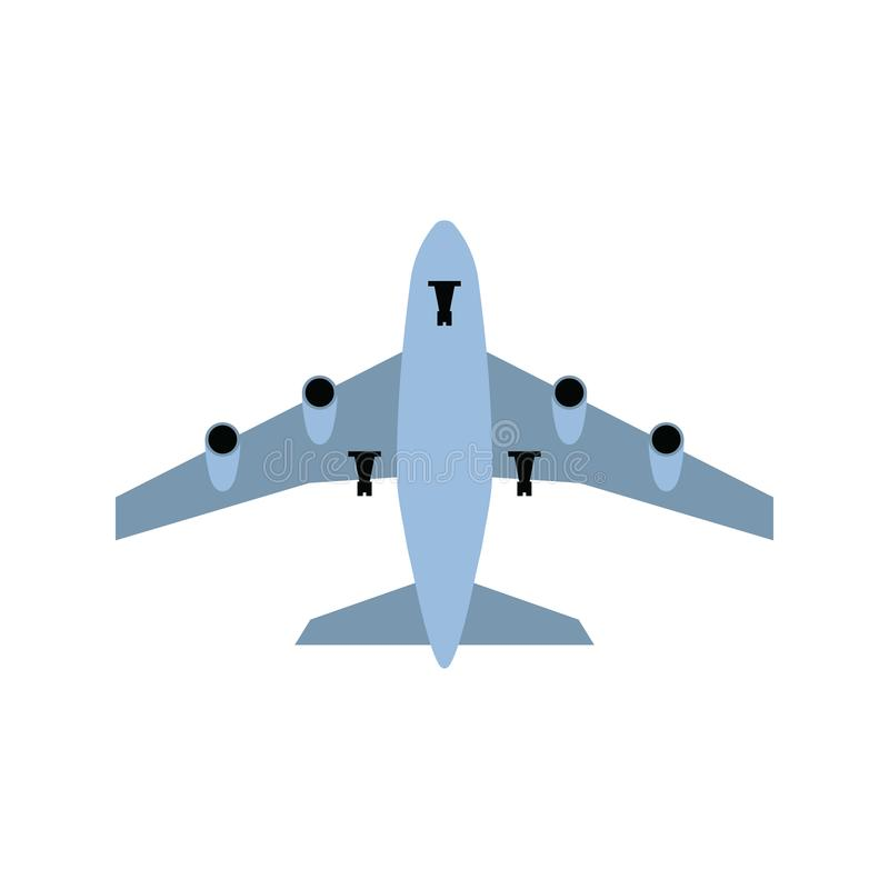 Airplane Takeoff Icon. Front view. Flat color design. Vector illustration royalty free illustration