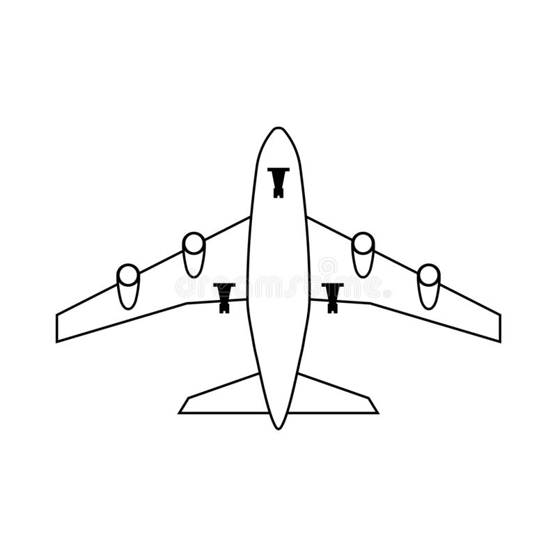 Airplane Takeoff Icon. Outline Simple Design. Vector Illustration royalty free illustration