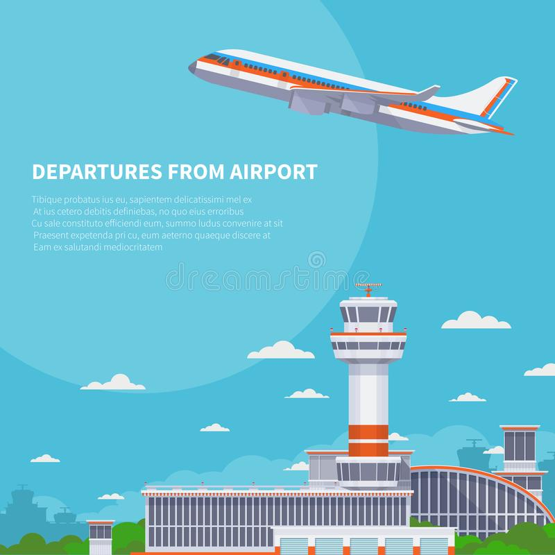 Airplane takeoff on runway in international airport. Tourism and air travel vector concept stock illustration